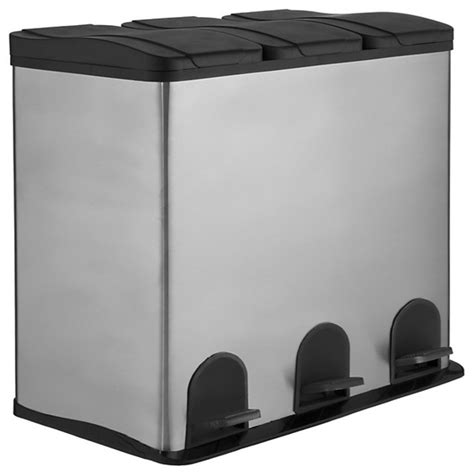 Three Section Recycling Bin by 3 Section Recycling Bin Stainless Steel 3x 20l Modern