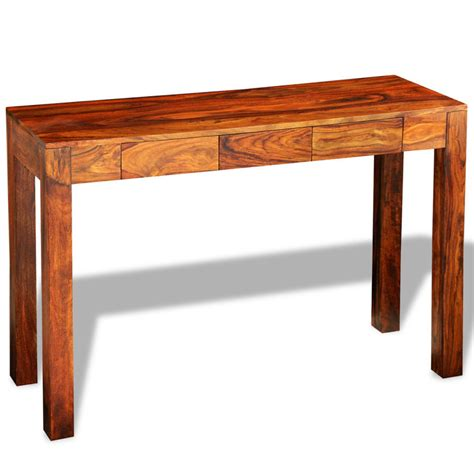 solid wood console table with drawers solid sheesham wood console table w 3 drawers brown buy