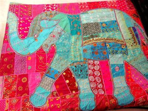 large elephant patchwork tapestry bohemian embroidered queen bed cover blanket
