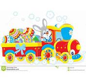 Easter Bunny On A Train Stock Vector  Image 39384299