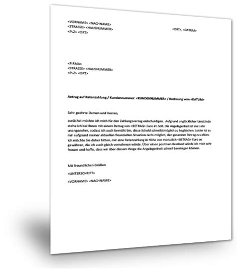 Vorlage Musterbrief Ratenzahlung Musterbrief Ratenzahlung Musterix