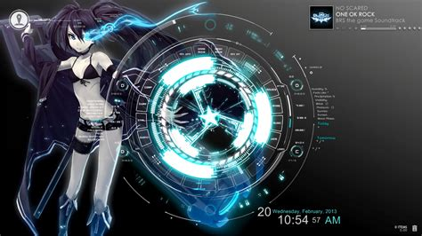 black rock shooter rainmeter skin brs rainmeter w sao menu interface 02 by evanngeo ui