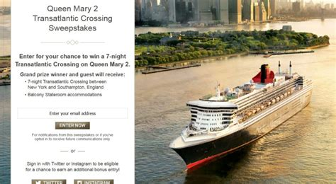 Easiest Sweepstakes To Win - this week s best sweepstakes win a transatlantic crossing on the queen mary 2