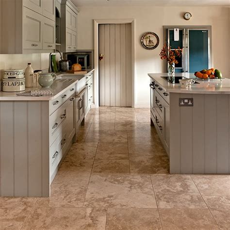Kitchen Flooring Ideas Uk Neutral Kitchen With Travertine Floor Tiles Kitchen Flooring Ideas Housetohome Co Uk