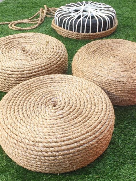 rope tire ottoman diy make a rope ottomans chair with old tire 1001 gardens