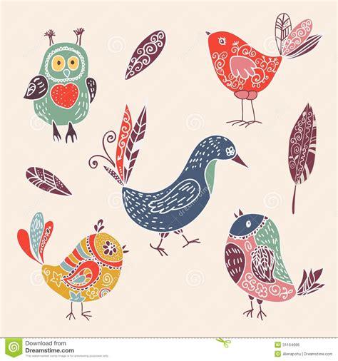 doodle bird free vector color vintage birds doodle set stock vector