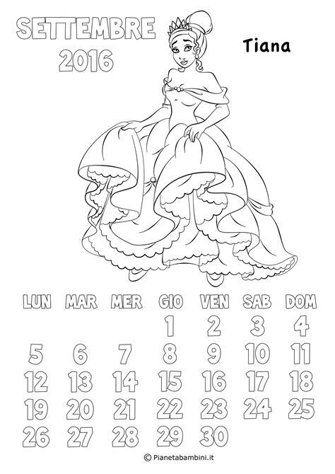 I Calendario 2016 Da Stare Calendario 2017 Delle Principesse Da Colorare Per Bambine