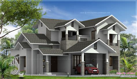2500 sq ft house double storied sloping roof home design kerala home