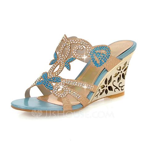 J R Wedges Shoes R 3 s leatherette wedge heel sandals wedges peep toe with rhinestone shoes 116094405
