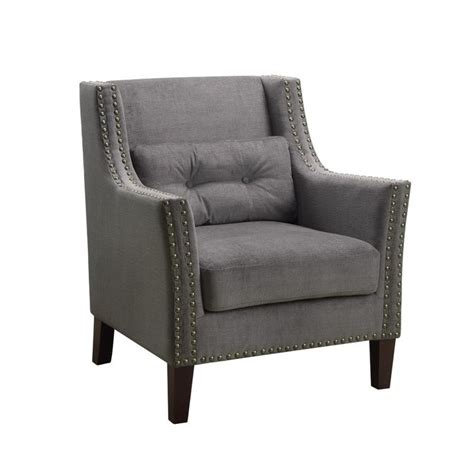 nailhead accent chair coaster nailhead trim accent chair with pillow in gray