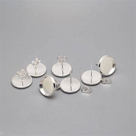 how to make cabochon jewelry silver plated stud earring base blank earring metal copper