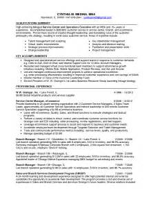 free sle resume for customer care executive centre summary of accomplishments exles