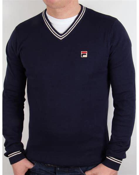 Fila Sweater Gloria White fila vintage ashore v neck sweater navy jumper knitted mens