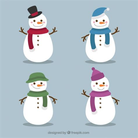 2326x1619mm snowmen with green scarves set of amusing snowmen with scarf and hat vector free