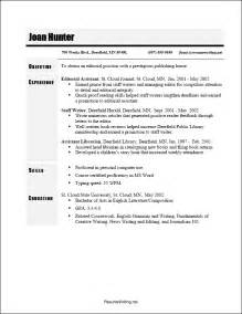chronological resume sle