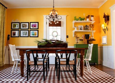 yellow dining room for the home