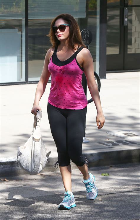 rose mcgowan tight dress rose mcgowan in tight leggings leaves a gym in los angeles