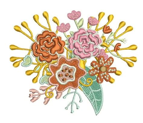 Wedding Bouquet Embroidery by Floral Bouquet Embroidery Patterns Embroidery Pattern