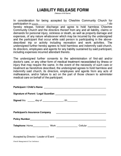 Form Injury Waiver Form Personal Injury Release Form Template