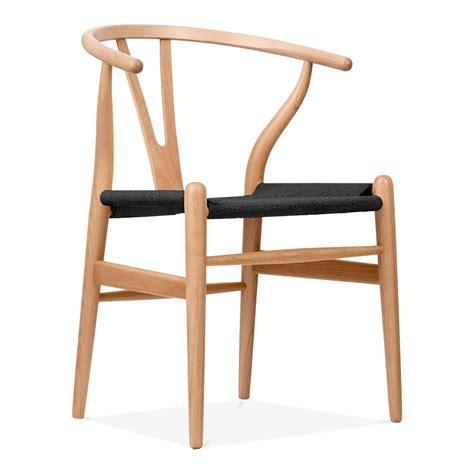 hans wegner style natural wood wishbone chair  black seat cult uk