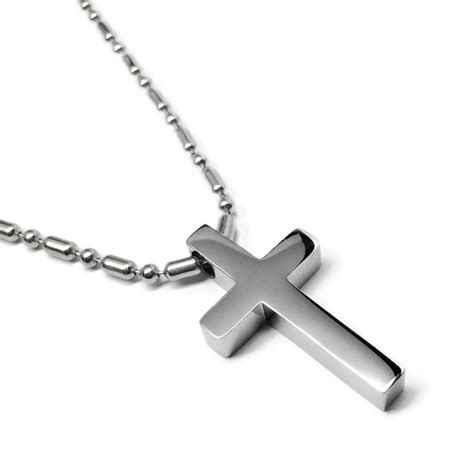 Kalung Stanless Steel Cross For 316l hypoallergenic non tarnish polished cross pendant loralyn designs