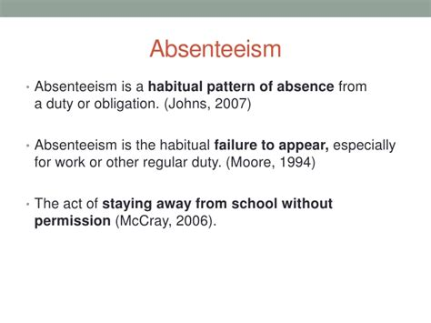 definition pattern absenteeism absenteeism by thierry mbenoun