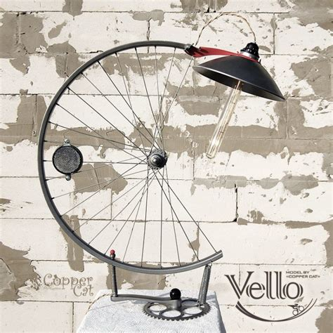 bicycle wheel  parts recycled  steampunk bike lamp id lights