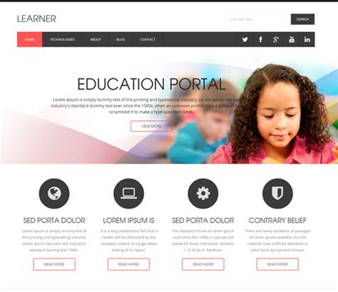 learner a educational flat responsive web template by