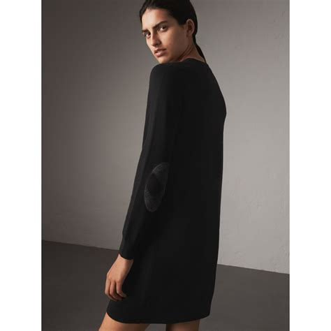 37 3 Black Sweater Limited check detail merino wool sweater dress in black burberry united states
