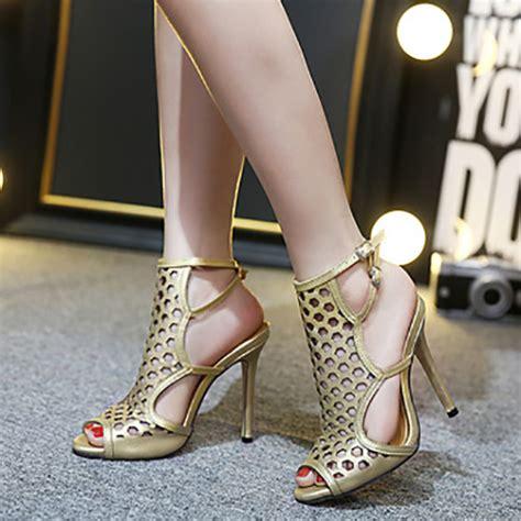 Open Heels Trendy Shh9773 trendy open toe hollow out stiletto high heel gold pu sandals sandals shoes