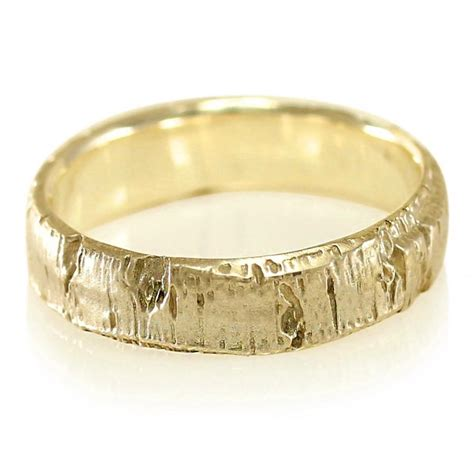 10k Gold Wedding Band by Aspen Bark Yellow Gold Mens Wedding Band In 10k Gold 14k