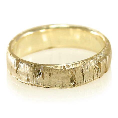 Bark Design Wedding Ring by Aspen Bark Yellow Gold Mens Wedding Band In 10k Gold 14k