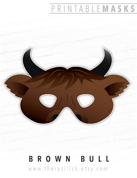bull mask template mask printable mask brown bull mask ox cow