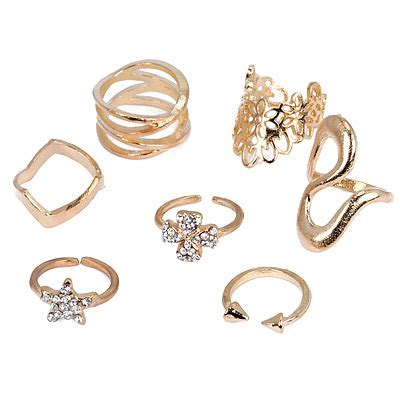 Cincin Waterdrop by Gold Color Decorated Shape Design 7pcs