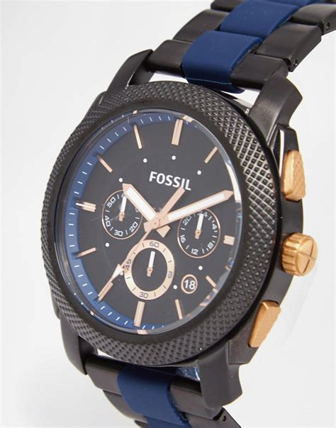 Fossil Kulit Black Limited fossil machine fs5164 blue in black for lyst