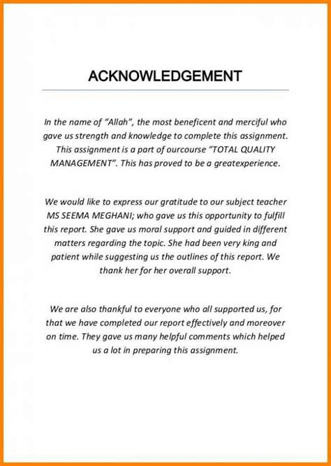 Acknowledgement Letter For Project sle of acknowledgement for project necessary assignment 4 meowings