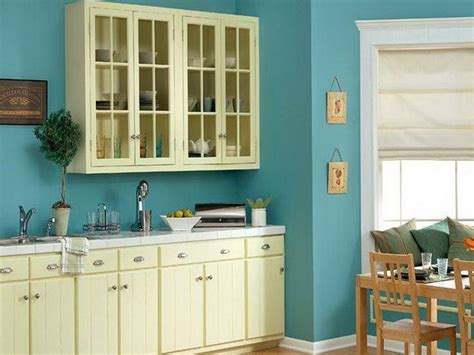 sky blue wall paint  cream white  cabinets