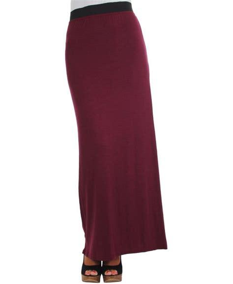krisp wide elastic waistband jersey wine maxi skirt