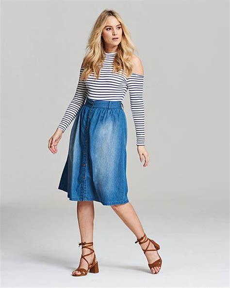 Blue Midi Denim Skirt Sml 41078 button front denim midi skirt marisota