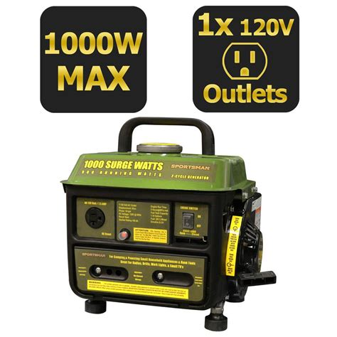 home depot 1 000 watt gasoline powered portable generator