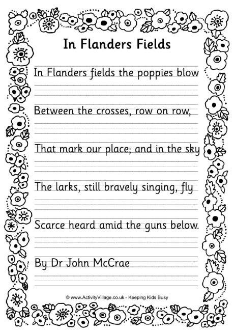 printable version of flanders fields in flanders fields copywork