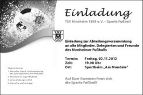 Muster Einladung Einstand Tsv Monheim Fussball