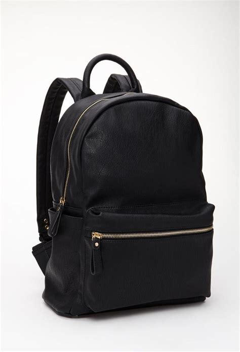 black backpack forever 21 classic faux leather backpack