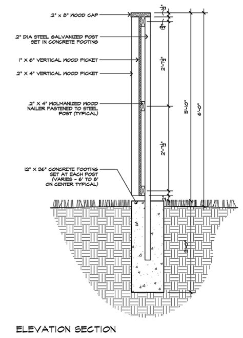 section detail drawing modern fence detail elevation section architecture
