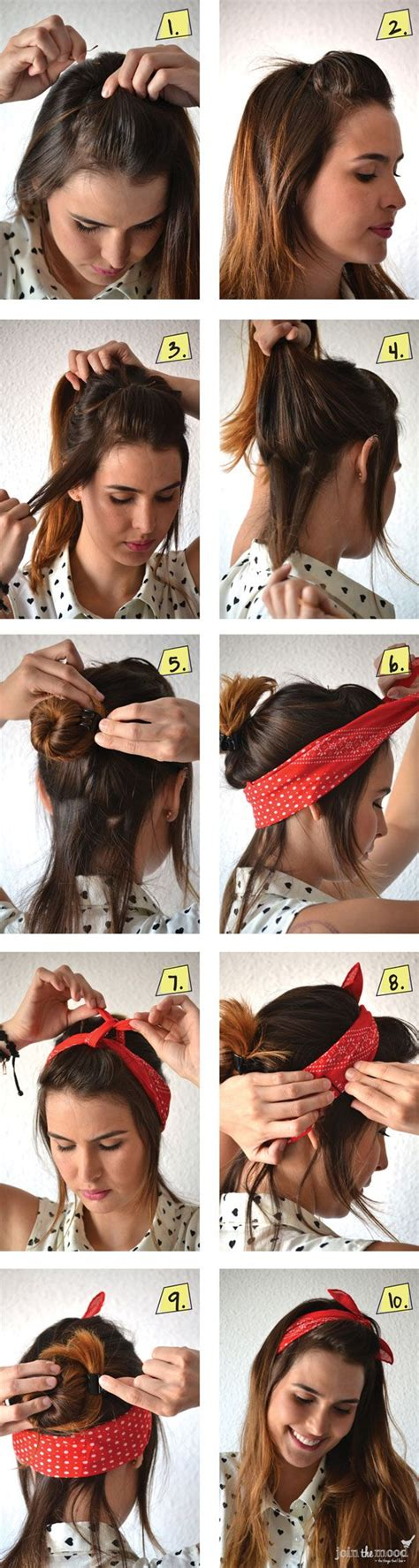 hairstyles for long hair wearing it up 14 tutorials for bandana hairstyles pretty designs