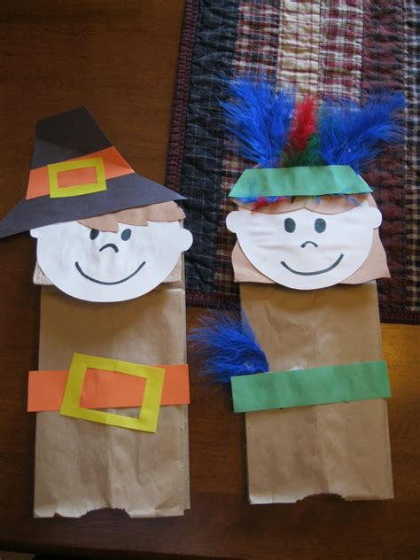 Paper Puppet Crafts - thanksgiving pilgrims and indians bag puppet craft