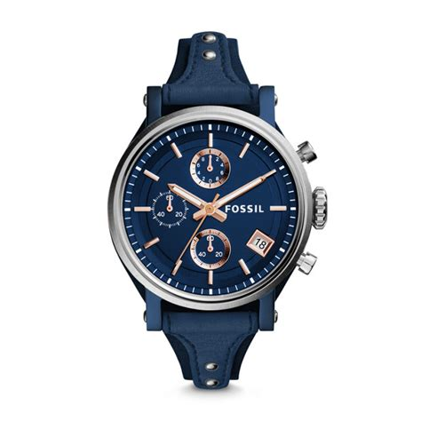 Fossil Logan Chronograph Leather Ori original boyfriend sport chronograph blue leather fossil