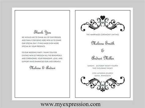 free wedding program templates microsoft word best photos of photoshop event program template bifold