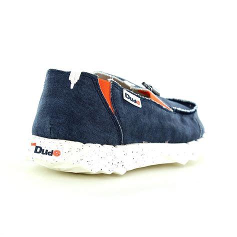 hey dude farty funk mens canvas slip on shoes denim blue