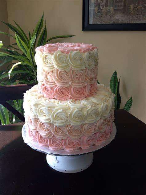 ombre swirly rose baby shower cake chunky monkey cakes   tortaspasteles de baby